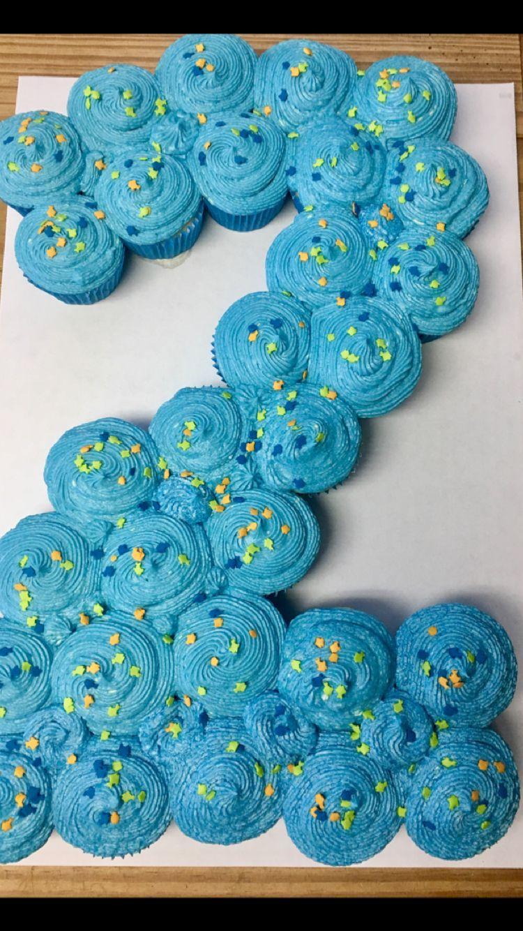 Number 2 cupcake pull apart cake Girl birthday cupcakes