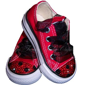 d8c3923aae19 Girls Ladybug Bling Converse Shoes