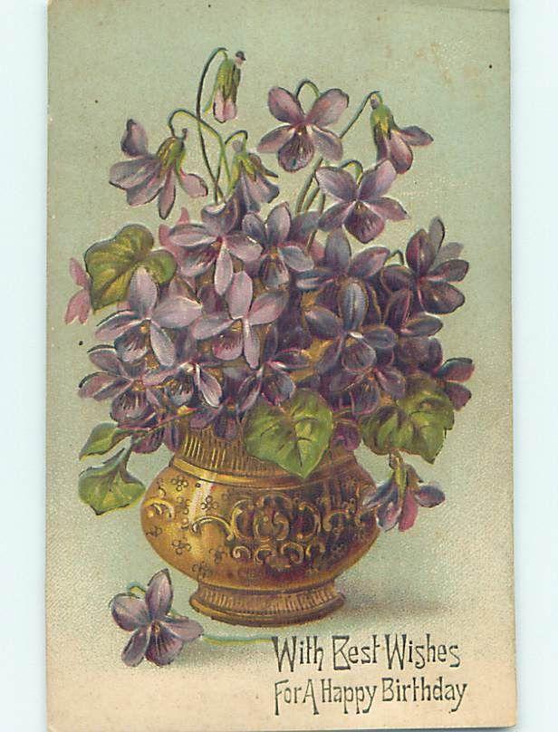Art Nouveau Birthday Card Depicting Violets Art Nouveau 4 Other