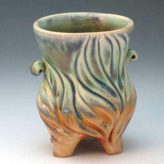 Green & orange porcelain vase with leaf design by robertapolfus, $68.00