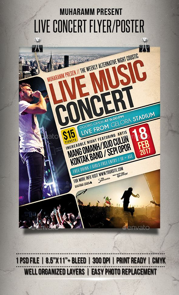 Live Concert Flyer / Poster Awesome Flyer Template Designs