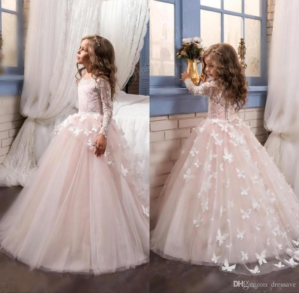 new tulle lace long sleeves ball gown floor length flower girls