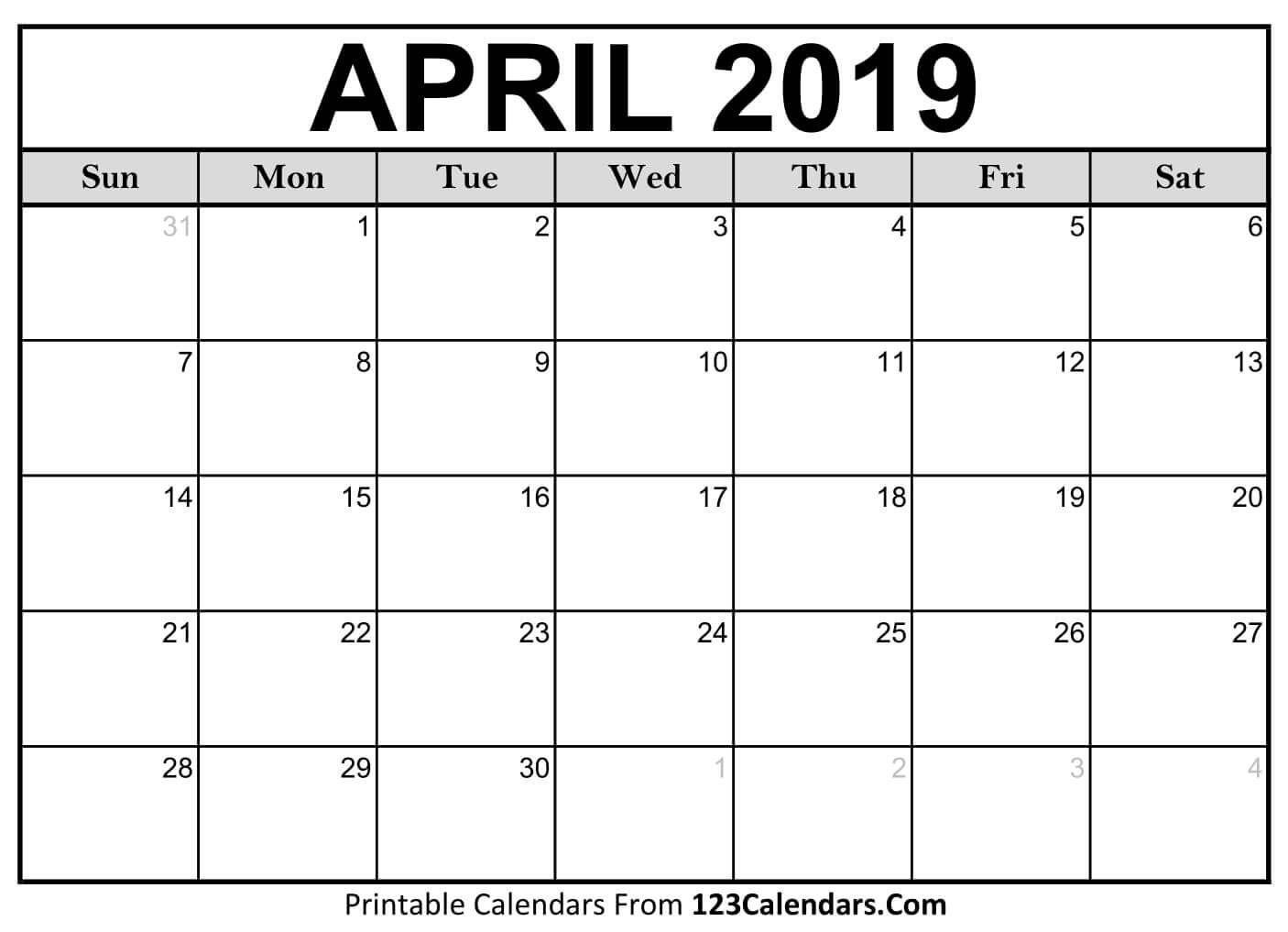 Blank April 2020 Calendar Printable Templates Download Editable