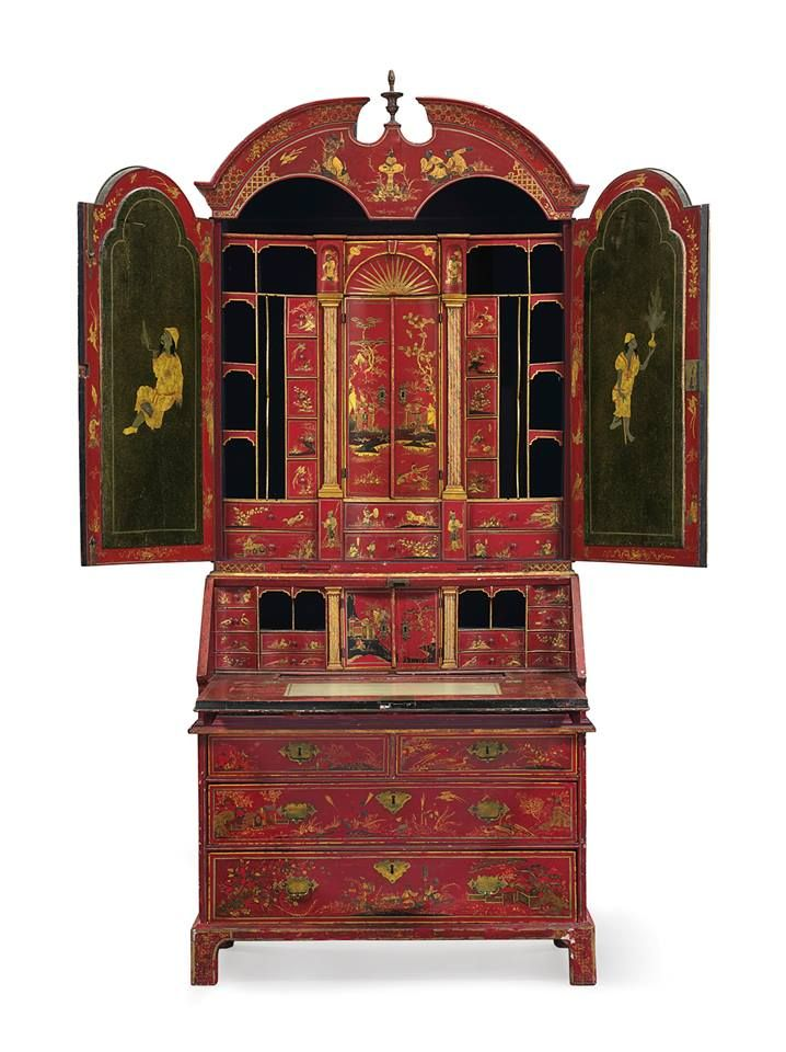 A GEORGE I SCARLET AND GILTJAPANNED BUREAU CABINET THE DECORATION