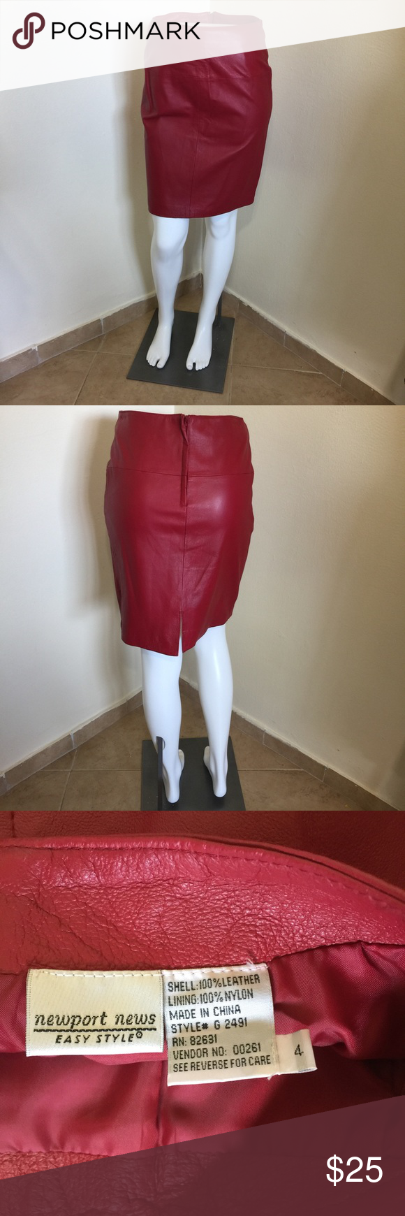 Newport News Blood Red Leather Pencil Skirt NWT 4 Label- Newport News.                                             Style- Flat front no waistband zip up leather pencil skirt, fully lined, seamed yoke on waist, back walking slit.                                         Size-4 Shown on a 2 Mannequin Know your measurements. Just above knee length!                                               Waist- 26, Hip-36 L-19                                    Color. - Deep Blood Red…