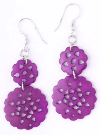 Scalloped Circle earrings purple #handmade