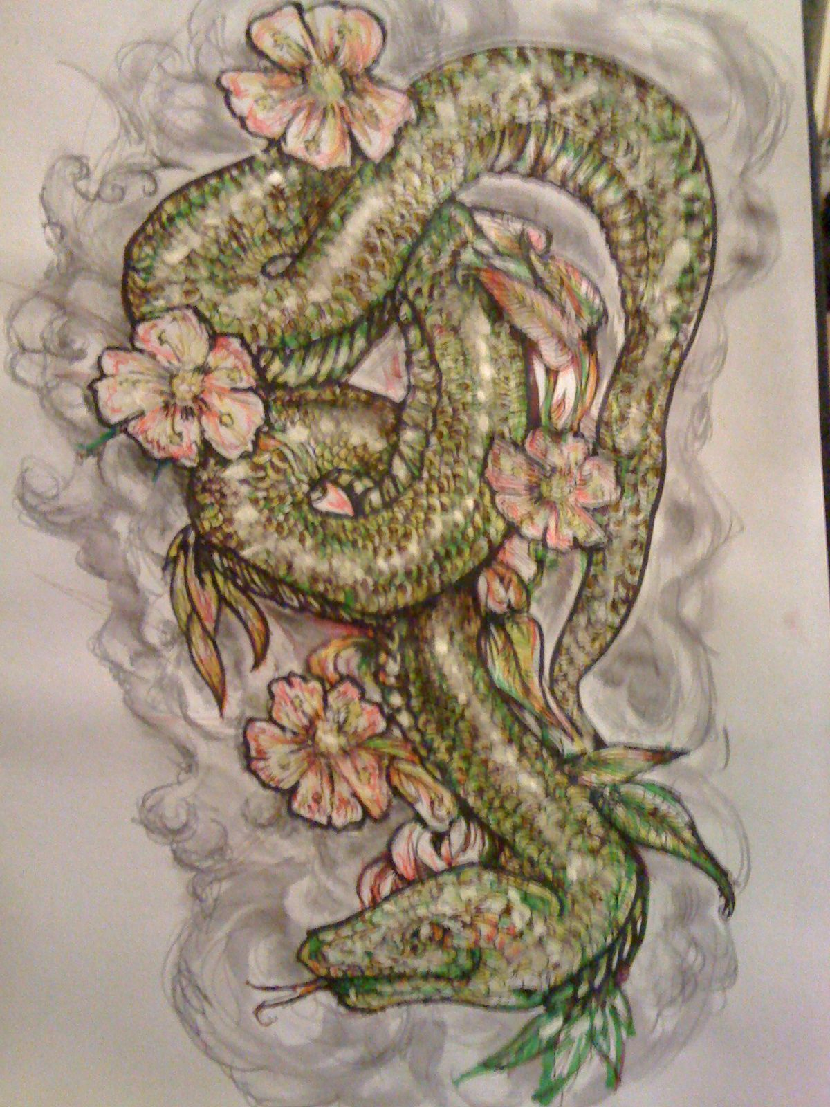 japanese style snake design with blossoms watercolour and ink tattoos pinterest snake. Black Bedroom Furniture Sets. Home Design Ideas