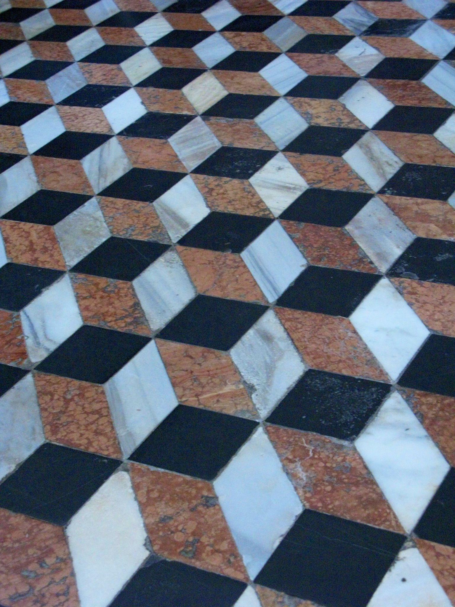 Wonderful Floor Pattern Uses Only Diamonds In Three Materials