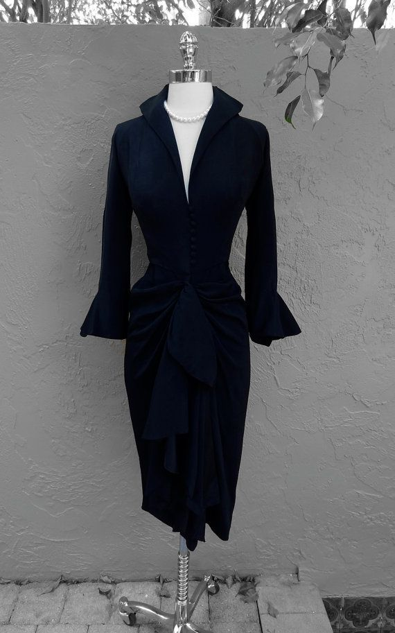 Vintage Ceil Chapman 1940's 40's Black Crepe Draped Cocktail Party Dress S #vintagefashion1950s