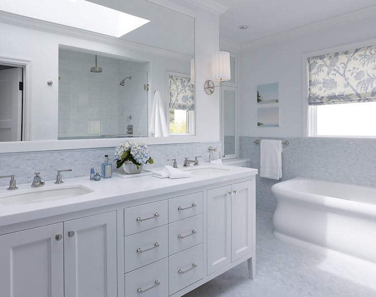 white double bathroom vanity  blue mosaic tiles backsplash  marble  herringbone tiles floor  white. white double bathroom vanity  blue mosaic tiles backsplash  marble