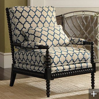 Spindel Arm Chair With Navy Quatrefoil Fabric I Think It Was Made