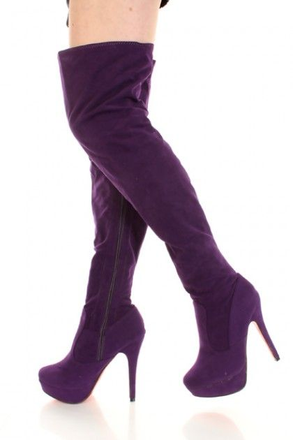 Purple Thigh High Boots - Cr Boot