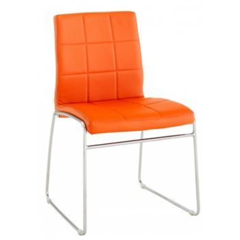 chaise chromé/pu orange Dining chairs indoor Pinterest Dining