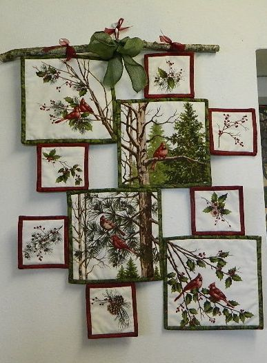 Make A Creative Wall Hanging From A Fabric Panel Quilting Digest Hanging Quilts Christmas Wall Hangings Fabric Panel Quilts