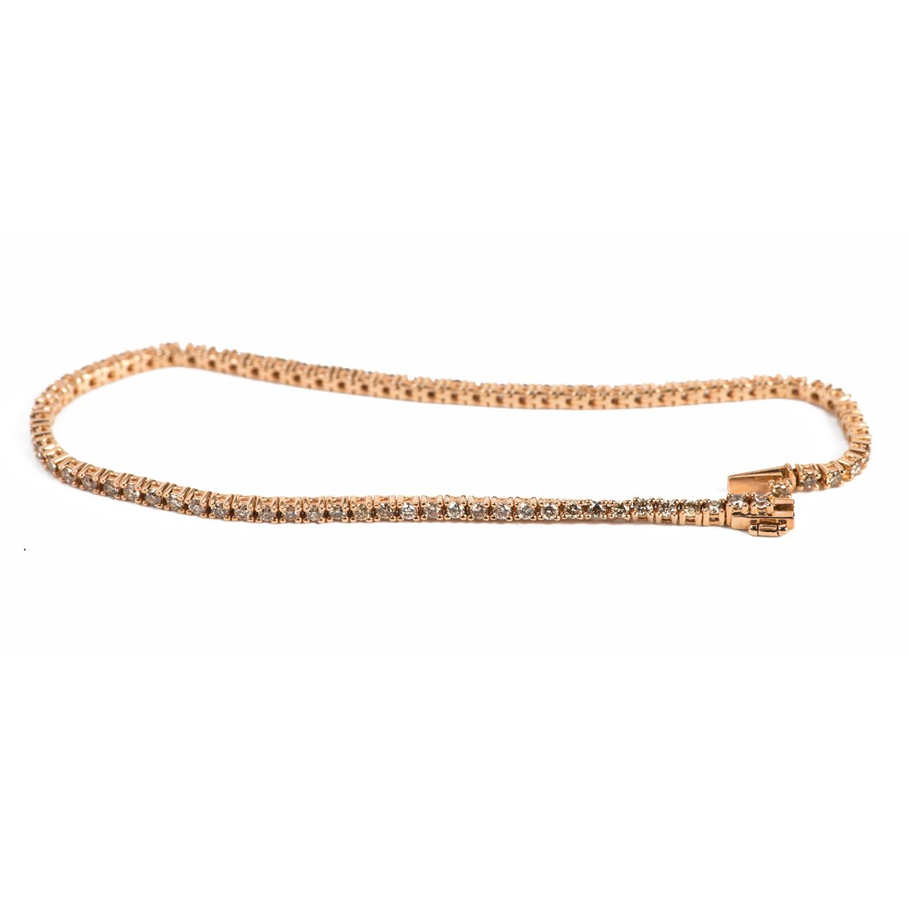 Thin Tennis Bracelet with Champagne Diamonds in Rose Gold