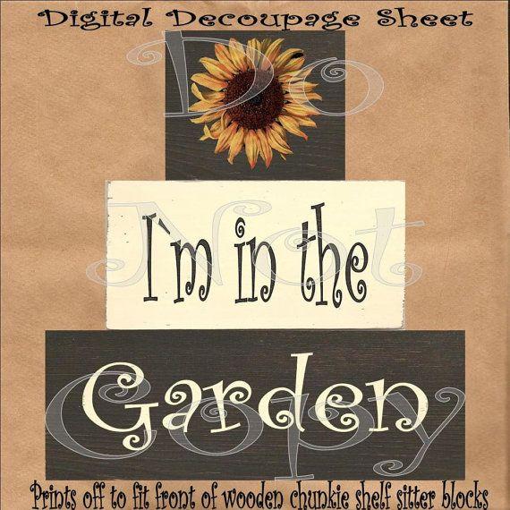 Large U-Print Digital Decoupage Sheet For Front Of Shelf Sitter Chunkie Wood Blocks , In The Garden , Sunflower Image via Etsy
