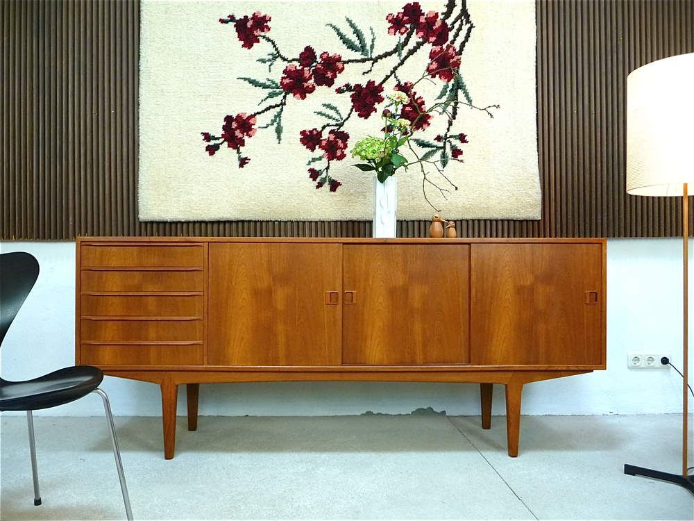 mid century modern teak sideboard credenza cabinet denmark 1960s living room. Black Bedroom Furniture Sets. Home Design Ideas