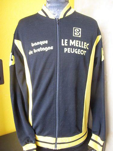 dfb573718 Peugeot Lemellec Servary 70 80 s LS Cycling Pullover Jacket Jersey szL XL