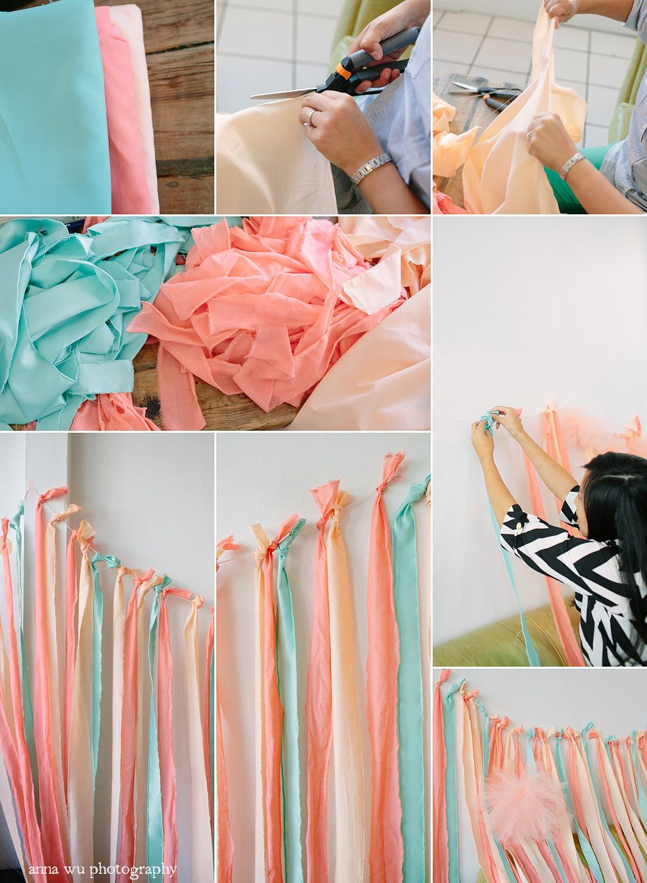 Diy Fabric Ribbon Backdrop Tutorial Pointe Of View Party By Anna