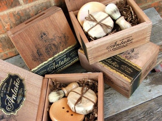 """Shave Kit for Men (but make it myself) g includes:  4 round wooden soap dish/holder  4 beer soaps your choice  4 boar starter brushes  4""""The Art of the Manly Shave"""" Classic Shave Instructions   4 Wooden Upcycled Cigar Box     Beer Soap Ingredients: Beer. Olive Oil, Coconut Oil, Sunflower, Avocado Oil, Castor, Cocoa Butter, Shea Butter, Fragrance, oxides."""