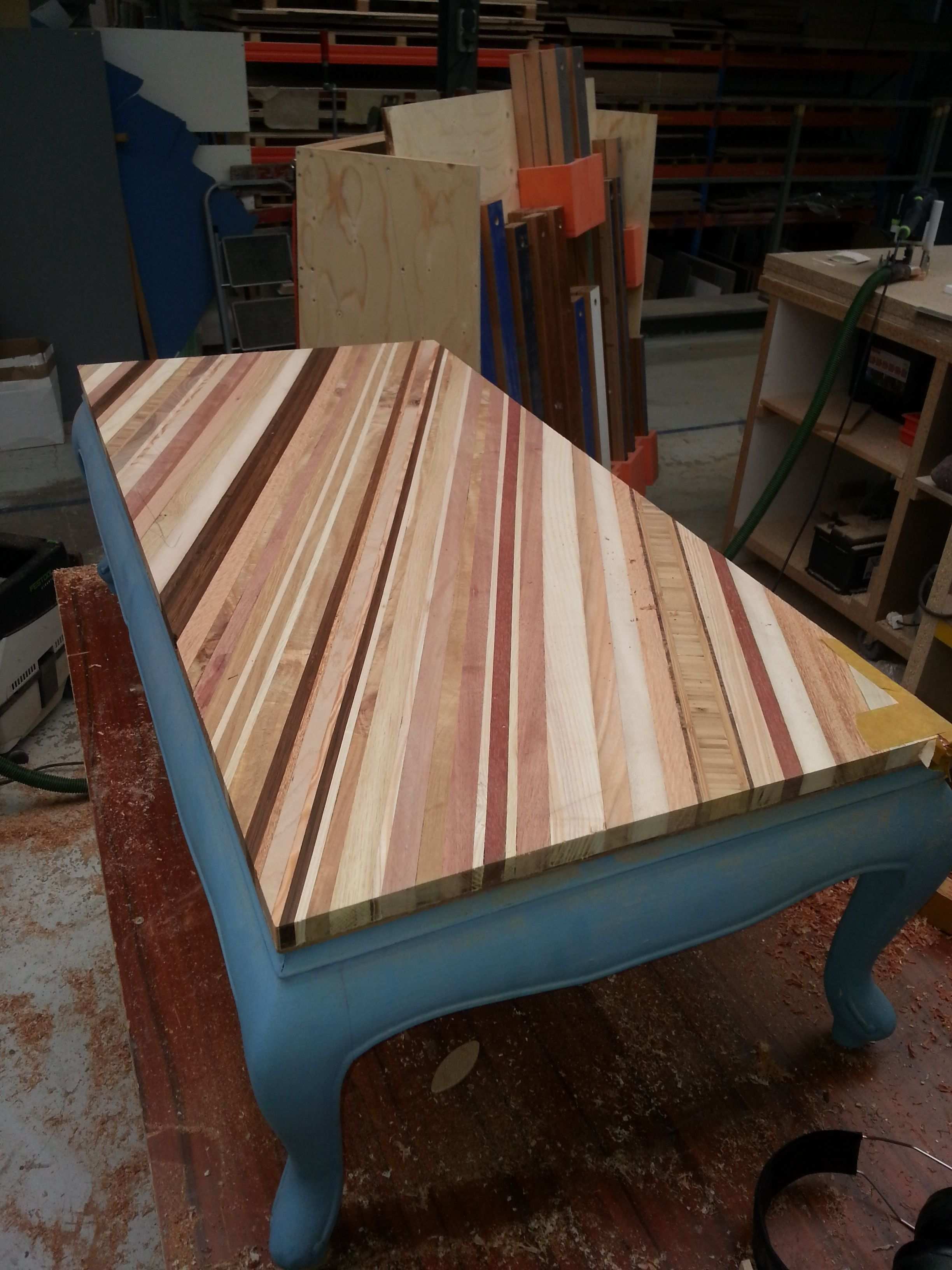 Side Table In The Making: Found Table With New Tabletop Made From Rest  Materials.