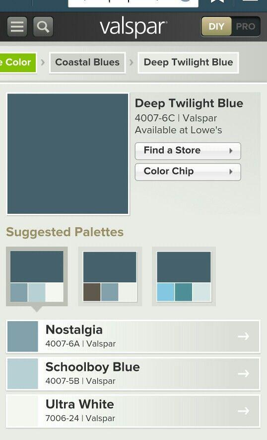 Valspar Deep Twilight Blue White Blue Color Schemes Favorite Paint Colors Valspar Blue