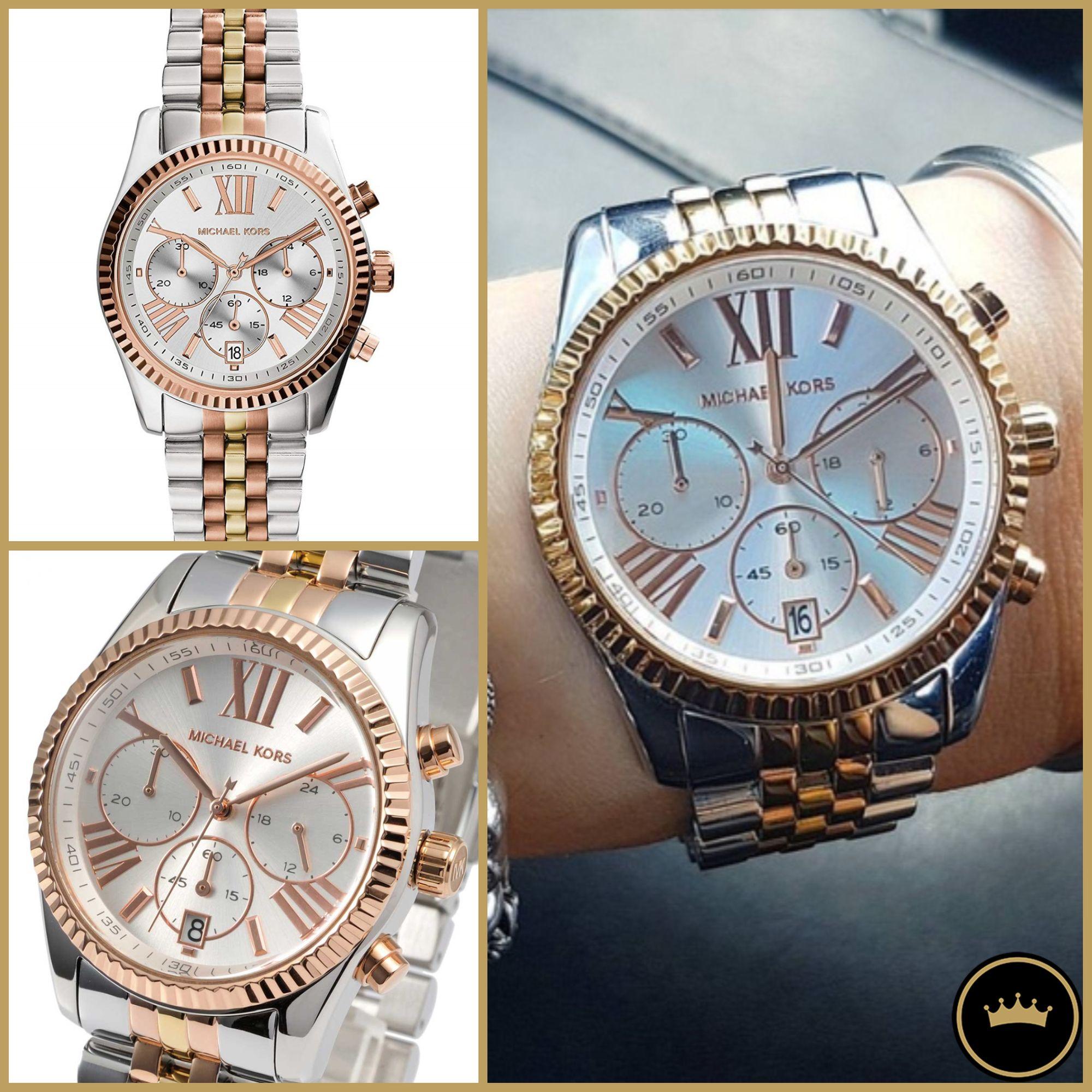 ساعة مايكل كورس كرونغراف بسوار ستانلس ستيل بثلاث ألوان فضي وذهبي وبرونزي Mk5735 أطلب الآن واحصل على هدية فورية فقط 499 Michael Kors Leather Silver Gold Watch