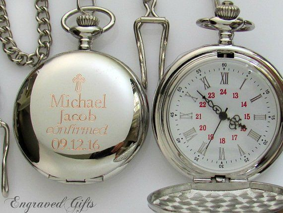 Engraveable Pocket Watch, Confirmation Gift for Boys. Boy Baptism Gift. Engraved Pocket Watch. Cust