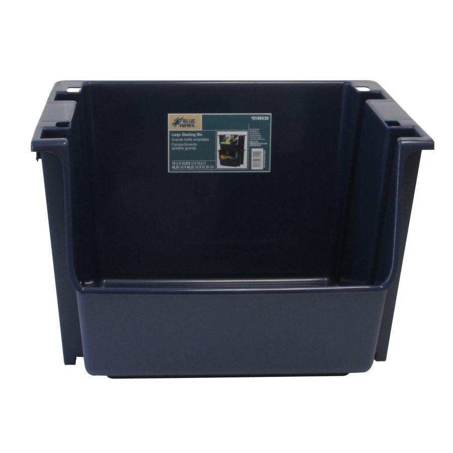 Blue Hawk 15 875 In W X 12 5 In H X 19 In D Navy Plastic Bin Storage Bins Garage Storage Systems Storage System