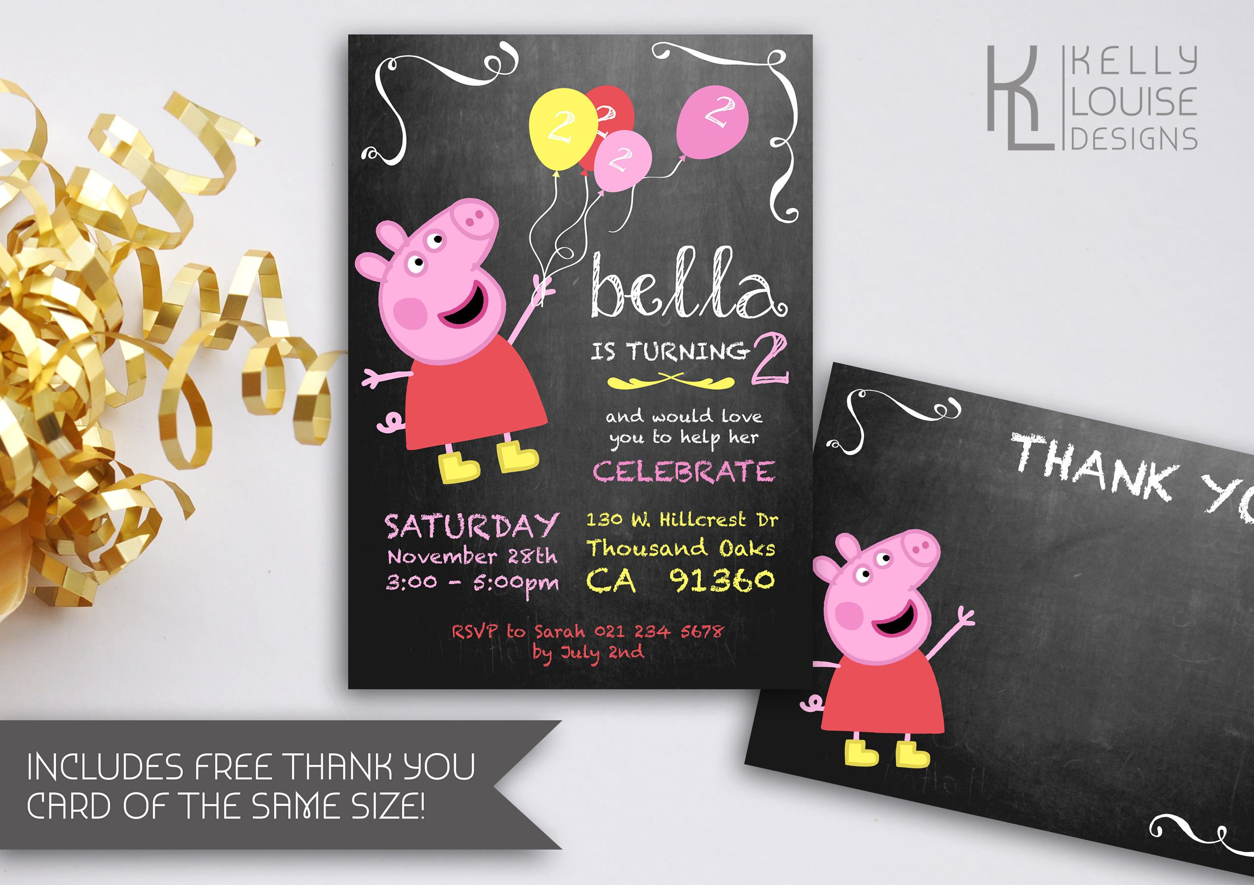 Peppa Pig Chalkboard Birthday Invitation | Peppa Pig Party ...