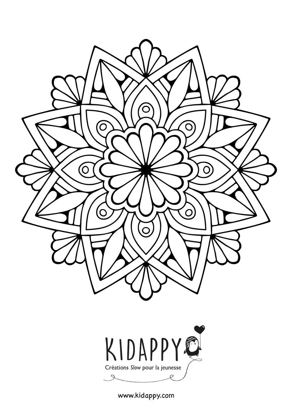 Mandala fleur – Kidappy   Coloriage mandala, Coloriage, Mandala
