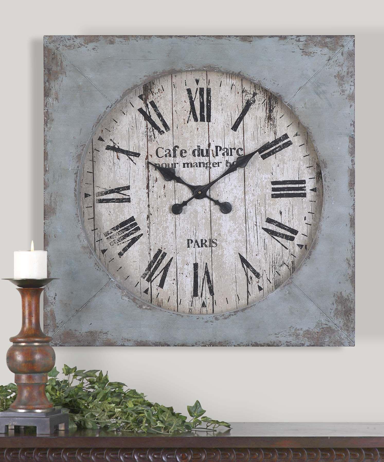 Am americana country wall clocks - Uttermost Paron Square Wall Clock