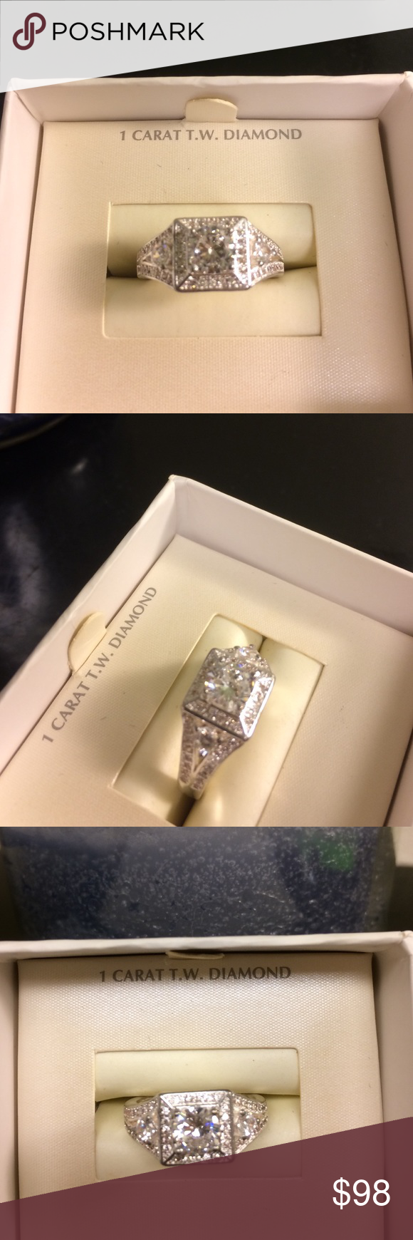 ASHA DIAMOND 💎 WHITE GOLD 18GF RING Beautiful White Gold 18Gf Stamped Ring . Size 7.  1ct total weight ASHA Diamond 💎. Quality H . Clarity clear . Cut Round . Brand New Ring 💍. Never worn . All jewelry is 💯% Brand new . Does not come in prop box . Wrapped and shipped in a gift 🎁 box . Tracking provided. Fire & Ice Jewelry Rings