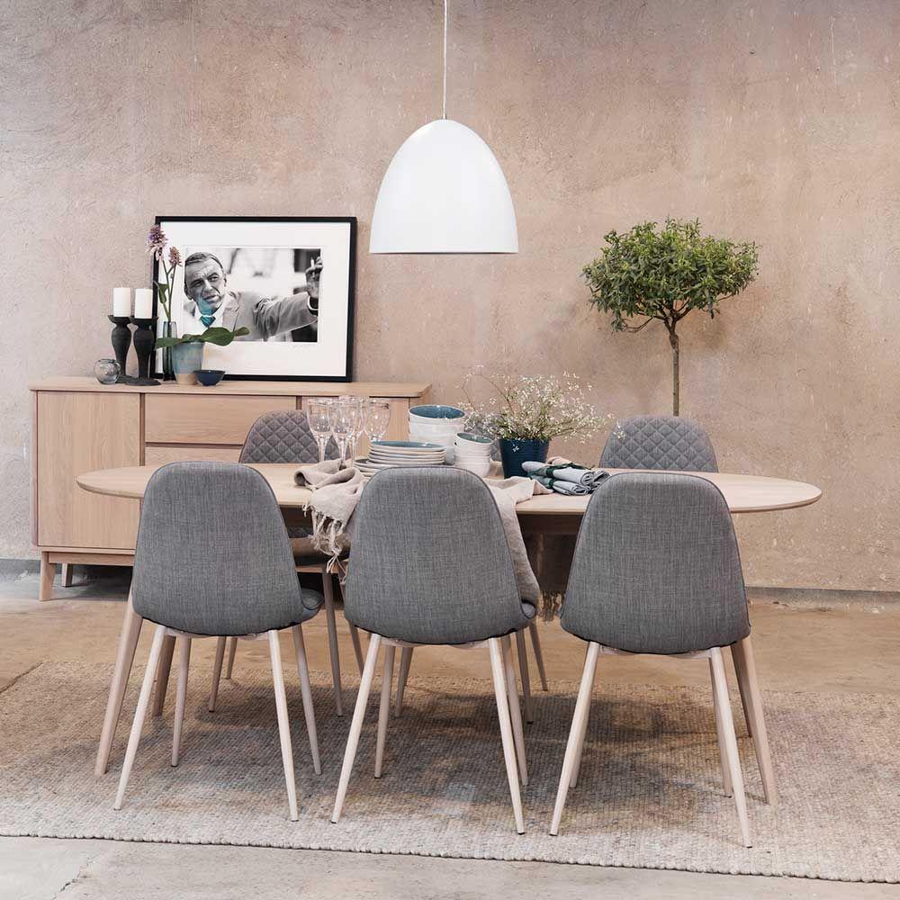 Esstisch mit Stühlen im Retro Look mit ovalem Tisch (7-teilig ...