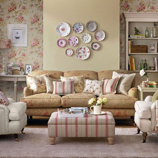 vintage style living room. French country living room vintage wallpaper ideas from Kate Beavis  homemaker Pinterest