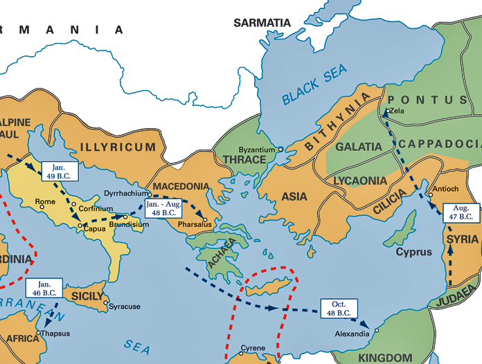 Maps That Explain The Roman Empire Roman Empire Civil Wars - Map of rome under caesar