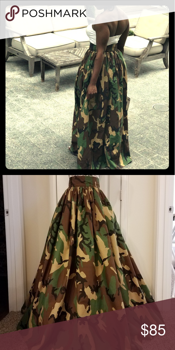f79b64ab84 Beautiful Camouflage Maxi Skirt with two large sid Lovely Camo print full  length cotton Maxi skirt, High waist and gathering all around. Size XS  Waist 27