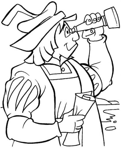 With Telescope Columbus Searching For New Lands Coloring Page