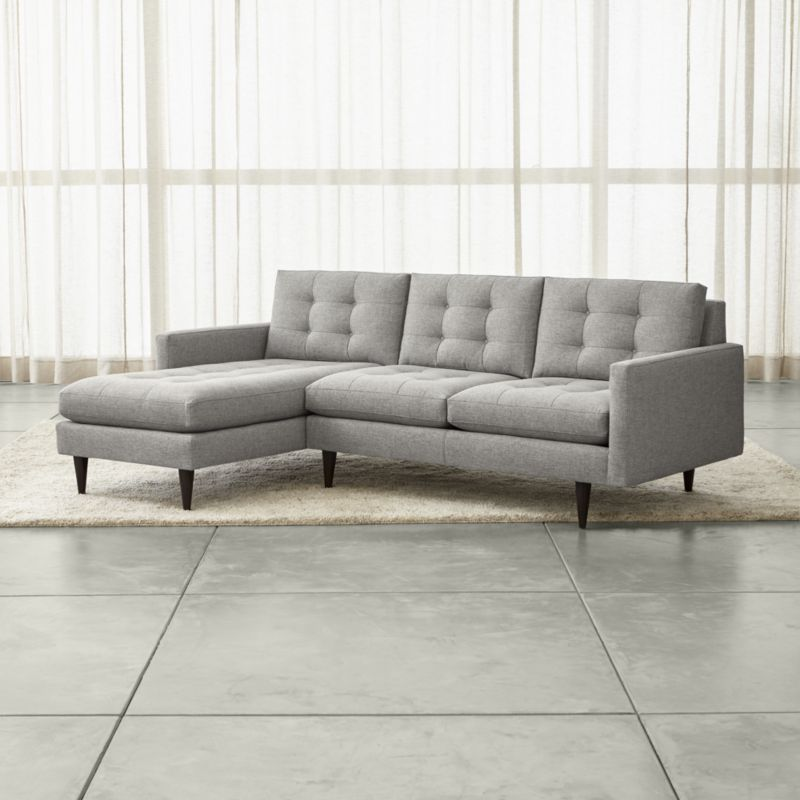 Couch Depth petrie 2-piece left arm chaise sectional sofa | intersections
