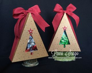 My Paper Pumpkin - October 2014 - Sweet As Pie - Christmas Tree Favors by Lauri_Seago - see a video tutorial at www.astampersperspective.typepad.com