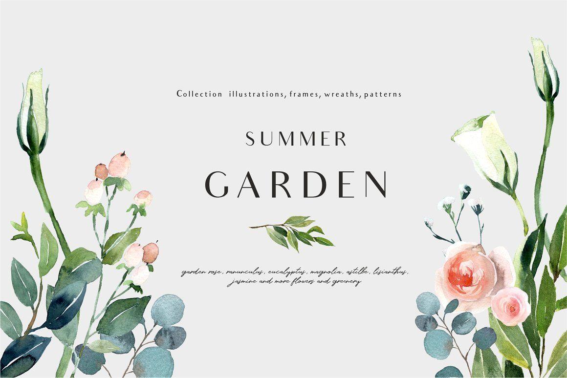 Summer Garden Floral Graphic Set Summer Garden Graphic Design Tools Clip Art