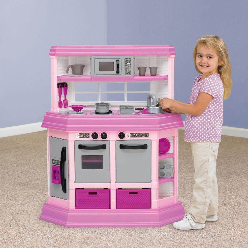 Play Kitchen Set Pink Light Up Burner With Sound Kids Pretend Toy