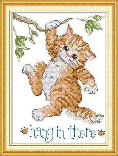 Good Value Cross Stitch Kits Beginners Kids Advanced Hang In There 11 CT 9X13 DIY Handmade Needlework Set CrossStitching Accurate Stamped Patterns Embroidery Home Decoration Frameless ** You can get more details by clicking on the affiliate link Amazon.com.