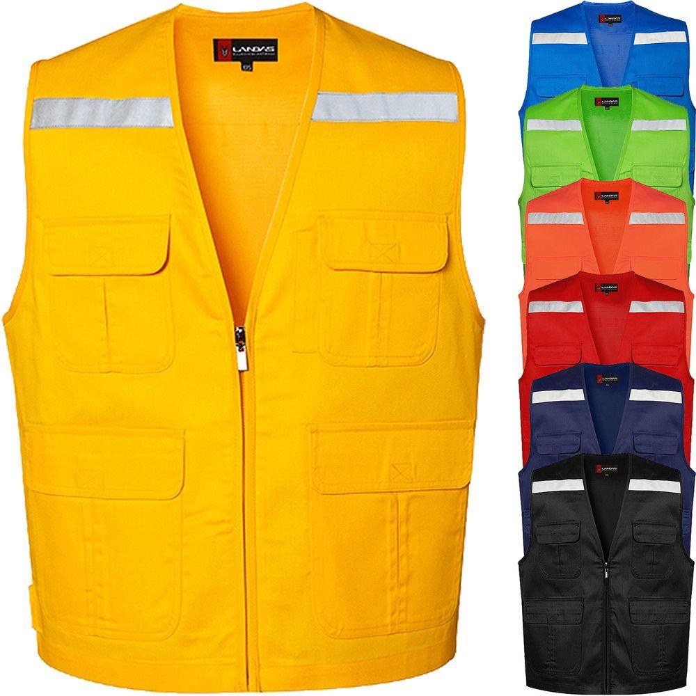 New Mens Multi Pockets Safety Vest Sleeveless Travel Work