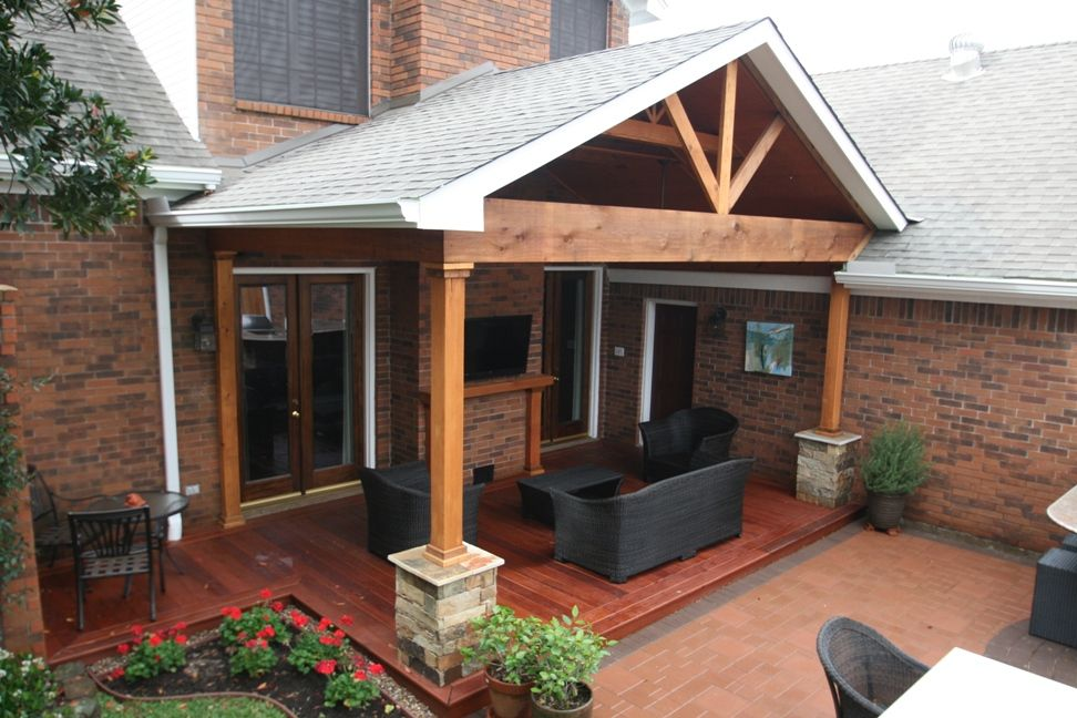 Nice hardwood deck and gable roof patio cover with for Covered back porch plans