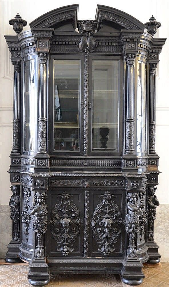 Cabinet China Cabinet Renaissance Mary Noir Ornate Furniture Gothic Furniture Vintage Painted Furniture