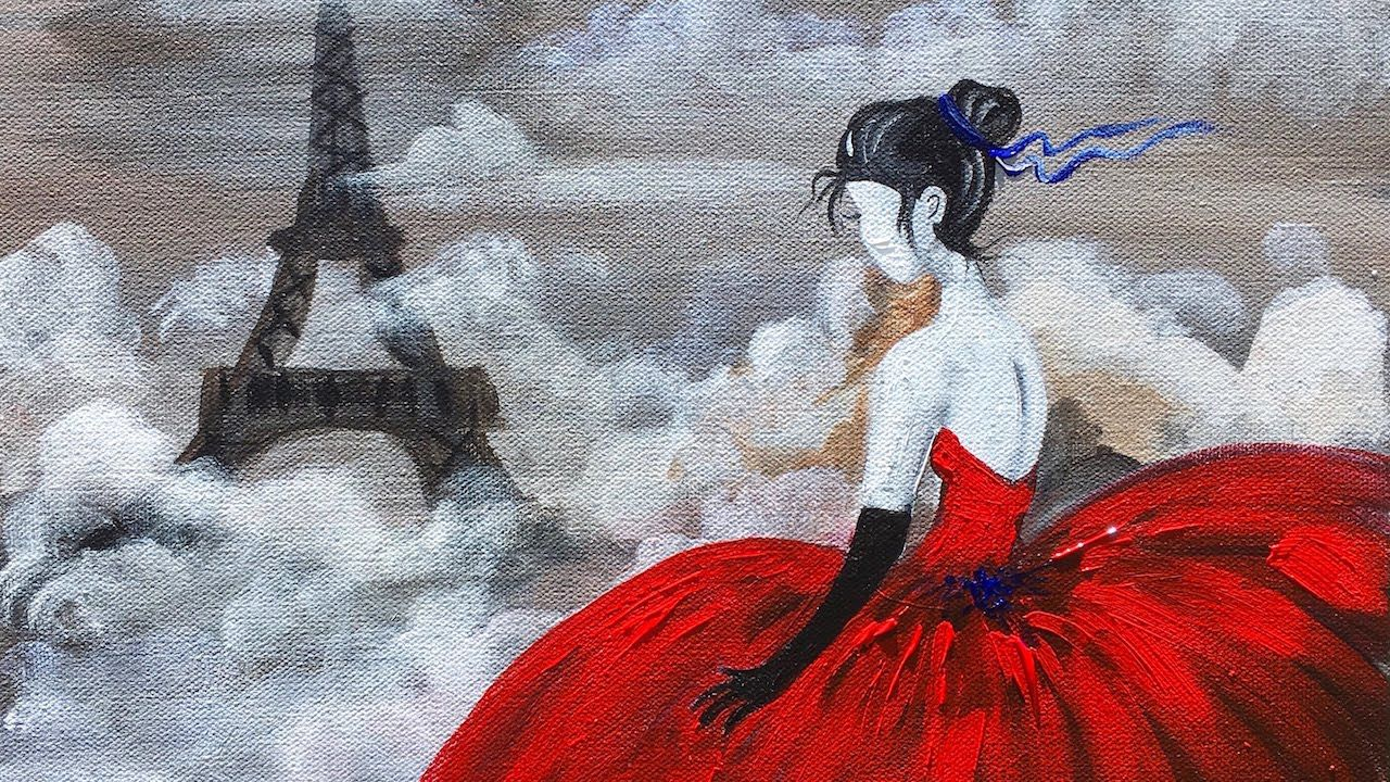 Red Dress Eiffel Tower Beginner Acrylic Painting Class