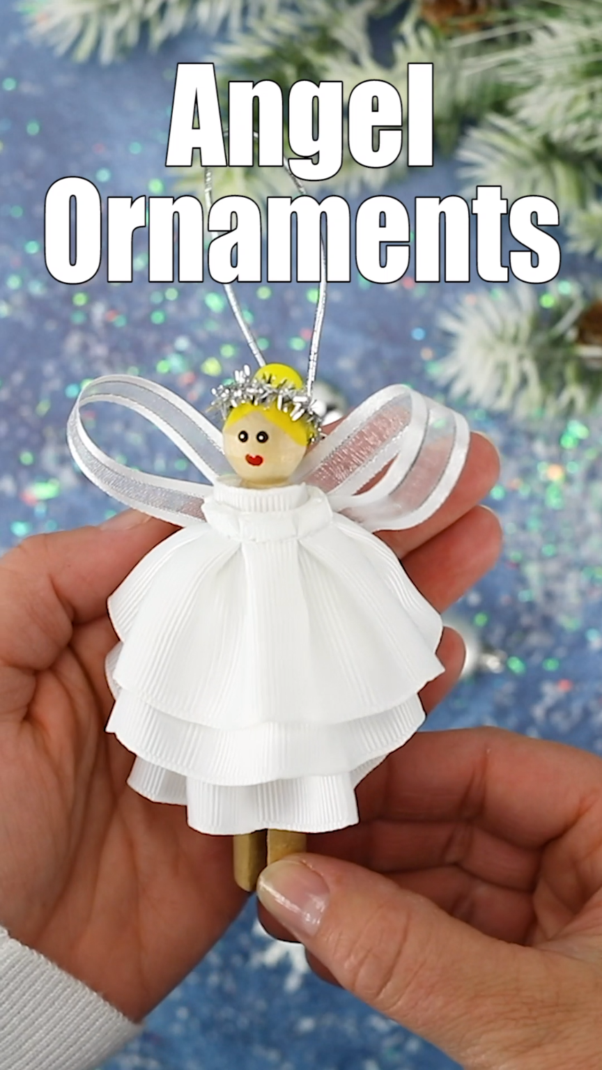 Learn how to make this beautiful DIY Christmas Angel Ornament from a wooden clothespin