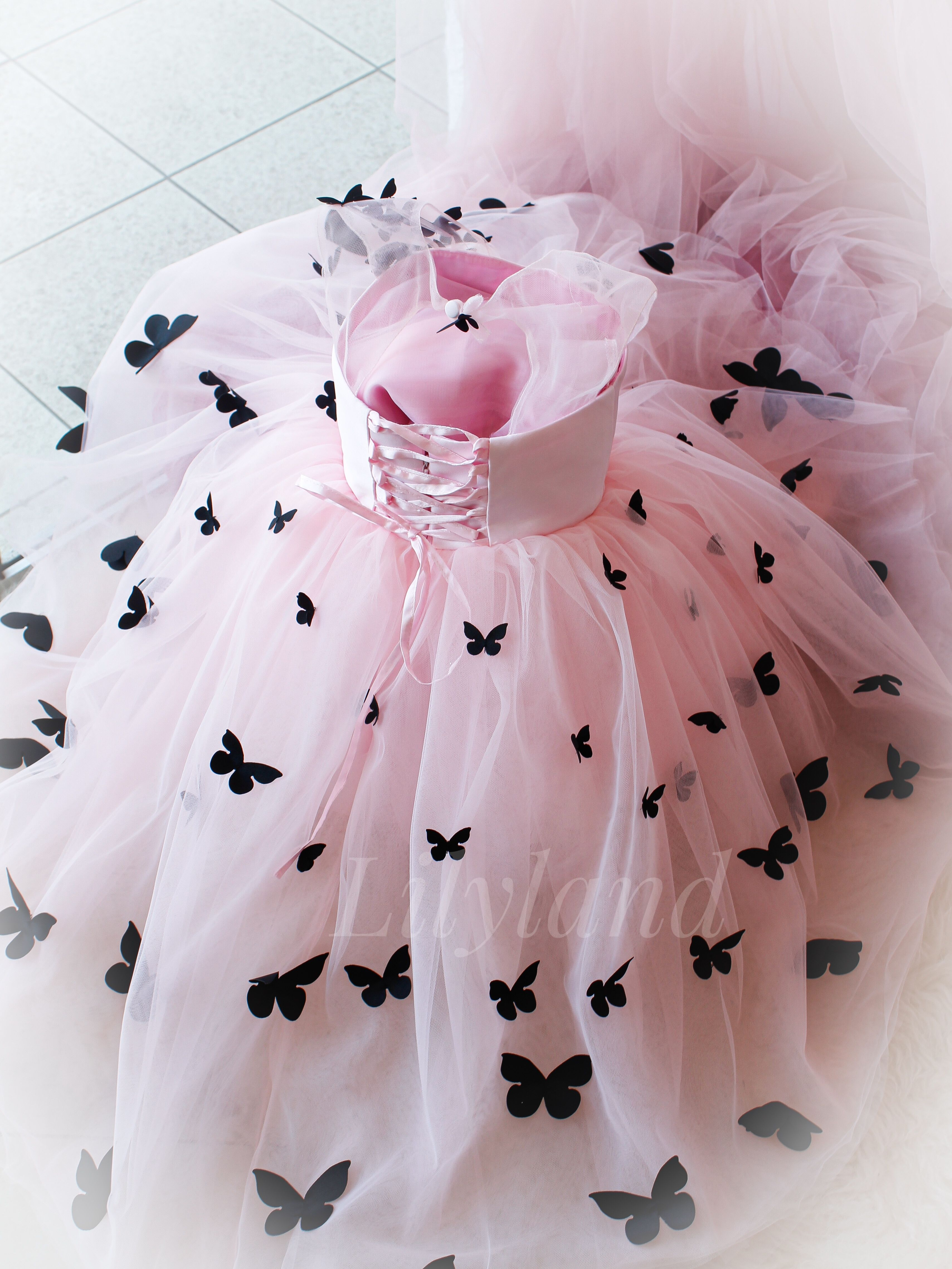 Cute baby butterfly dress soft pink black and pink little  Etsy