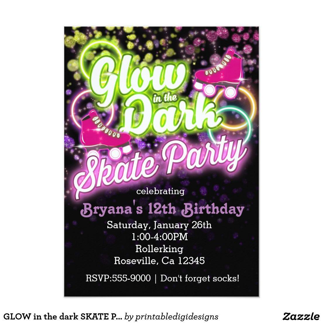 Glow In The Dark Skate Party Birthday Invitation Party Invitations